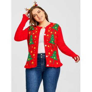 Christmas Tree Star Jacquard Plus Size Ruffle Cardigan -