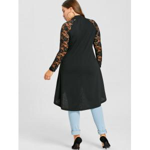 Plus Size Lace Trim Shredding Tunic Top -