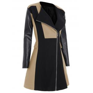Two Tone Plus Size Faux Leather Sleeve Coat -
