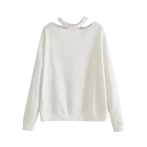Cut Out Loose Cotton Sweatshirt -