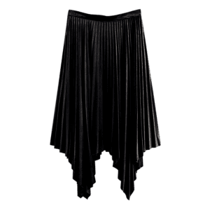 Velvet Pleated Asymmetrical Skirt -