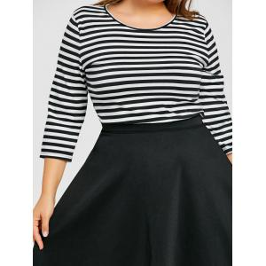 Striped Top with Plus Size Skirt -