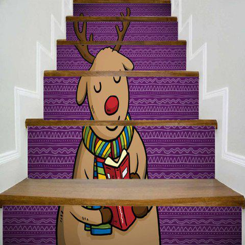 Fashion Cartoon Christmas Deer Printed Decorative Stair Stickers