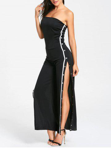 Sale Buttons Strapless Slit Wide Leg Jupmsuit