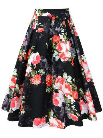 Latest Pleated A-line Floral Vintage Skirt