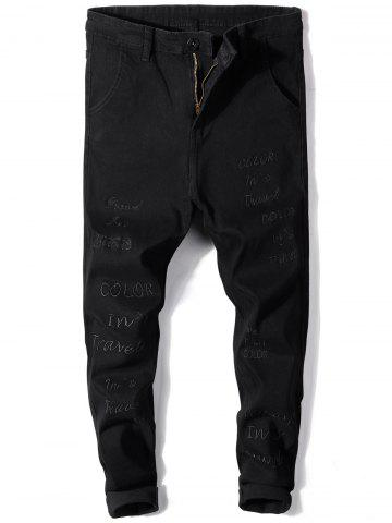 Slim Fit Straight Leg Embroidered Jeans