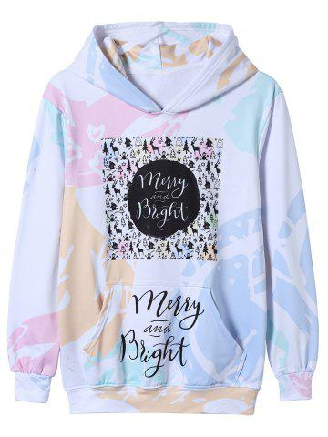 Colorful Graphic Christmas Print Pullover Hoodie