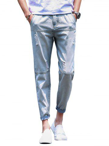 Straight Leg Panel Bleached Ripped Jeans