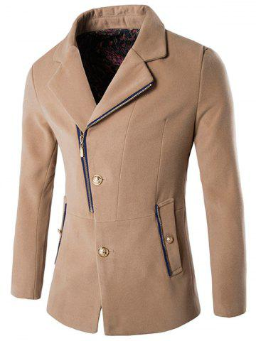 Side Button and Zip Up Wool Blend Coat