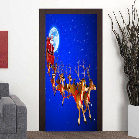 Fashion Moon Santa Sleigh Pattern Christmas Door Stickers