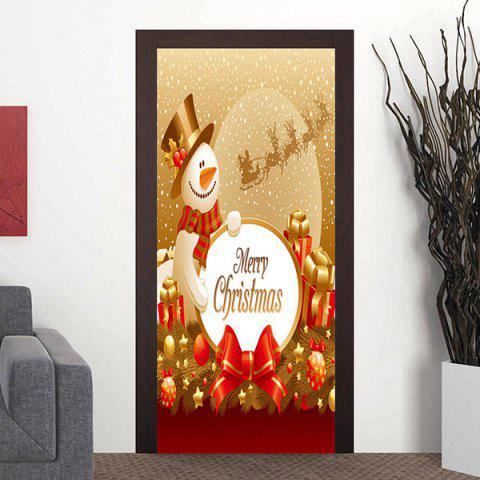 Shops Merry Christmas Snowman Pattern Door Cover Stickers