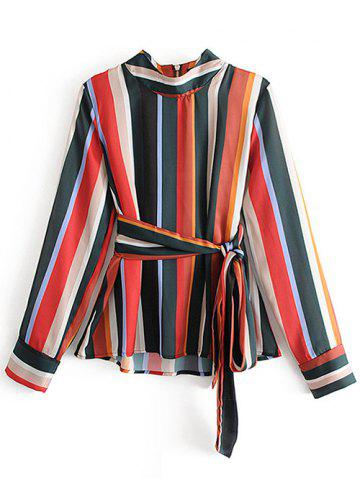 Long Sleeve Multicolor Striped Shirt with Belt