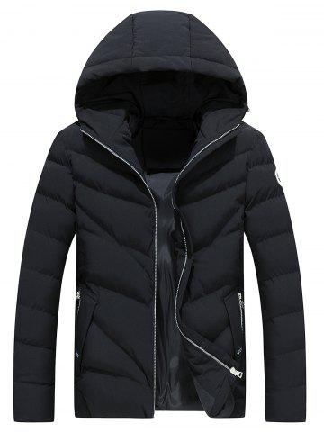 Hooded Applique Zip Up Padded Jacket