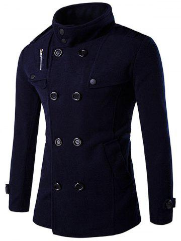 Cheap Double Breasted Funnel Collar Pea Coat