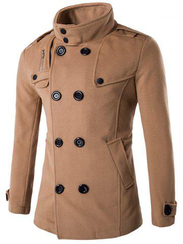 Store Double Breasted Funnel Collar Pea Coat