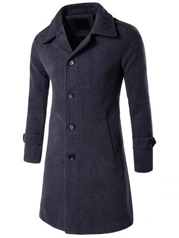 Best Epaulet Single Breasted Long Wool Blend Coat