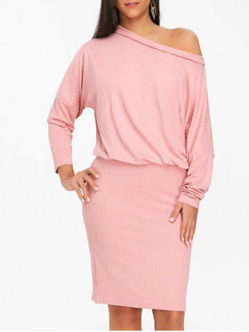 Skew Neck Dolman Sleeve Ribbed Dress