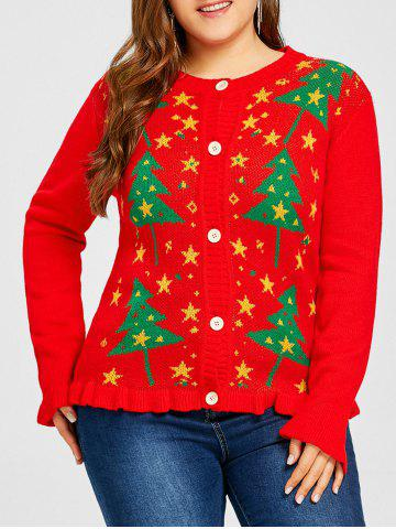 Outfit Christmas Tree Star Jacquard Plus Size Ruffle Cardigan
