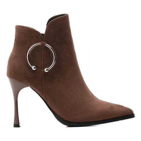 Metal Ring High Heel Ankle Boots