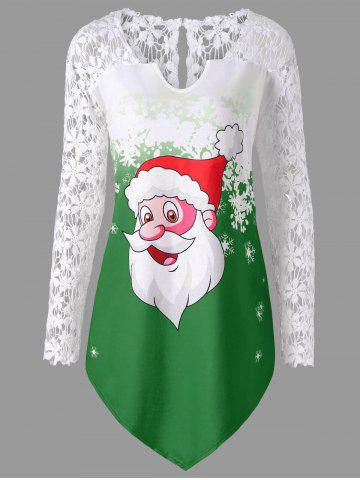 Best Christmas Plus Size Santa Claus Lace Trim T-shirt