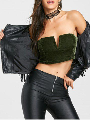 Shop Velvet V Cut Tube Crop Top