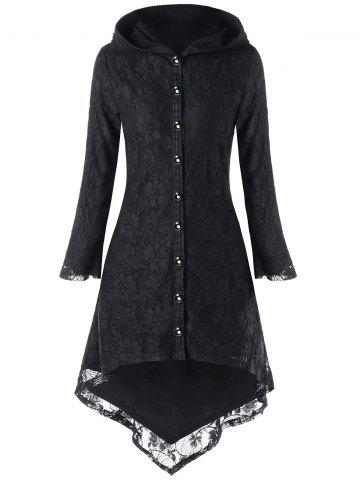 Online Hooded Lace Up High Low Coat