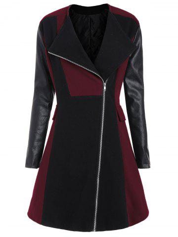 Outfits Two Tone Plus Size Faux Leather Sleeve Coat