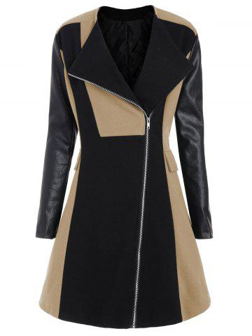 Online Two Tone Plus Size Faux Leather Sleeve Coat