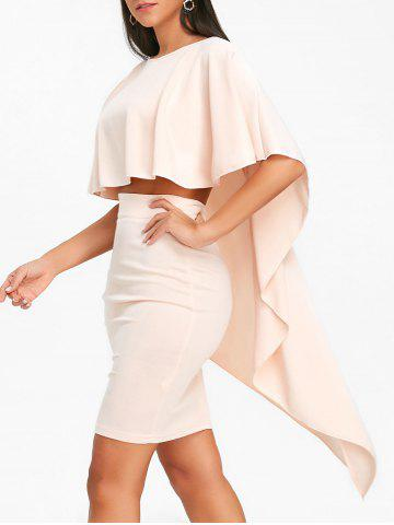 Fancy High Low Cape and Bodycon Skirt