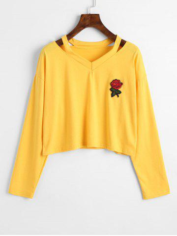 Shops Rose Embroidered Patches Cold Shoulder Sweatshirt