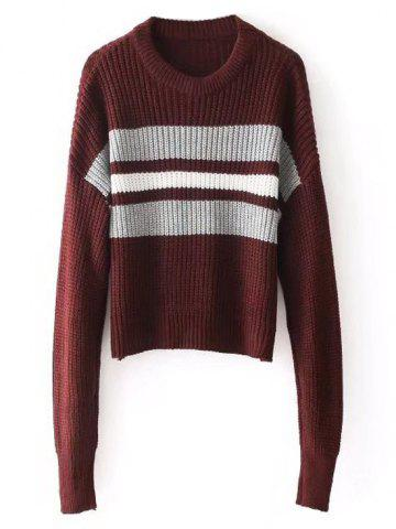 Store Stripes Panel Crew Neck Pullover Sweater