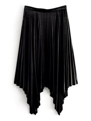 Latest Velvet Pleated Asymmetrical Skirt