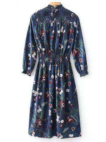 Fancy Smocked Panel Floral Long Sleeve Midi Dress