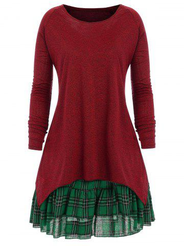 Plus Size Plaid Two Piece Dress