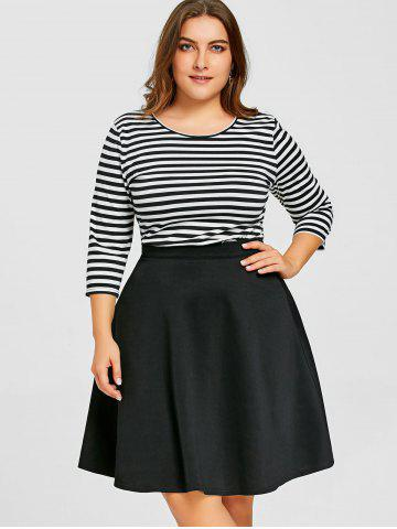 Fancy Striped Top with Plus Size Skirt