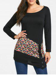 Floral Panel Buttons Long Sleeve Tunic Top -