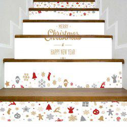 Christmas Elements Letter Print Decorative Stair Stickers -