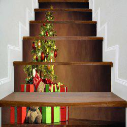 Christmas Tree Gift Printed Decorative Stair Stickers -