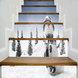 Christmas Snowman Snowscape Printed Stair Stickers -