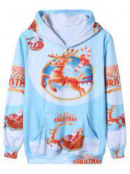 Sweat-shirt à capuche avec impression 3D de Santa Christmas Cartoon - Multicolore XL