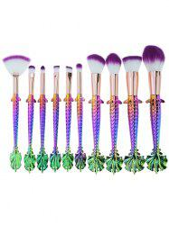 Professional Mermaid Shape Ultra Soft Fiber Hair Makeup Brush Kit -