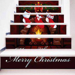Christmas Stocking Fireplace Printed Decorative Stair Stickers -