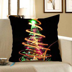 Colorful Lighting Christmas Tree Printed Decorative Pillow Case -
