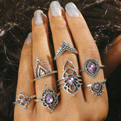 Artificial Amethyst Teardrop Flower Finger Ring Set -