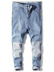 Bleached Color Block Harem Ripped Jeans -
