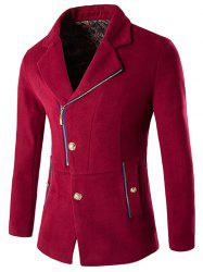 Side Button and Zip Up Wool Blend Coat -