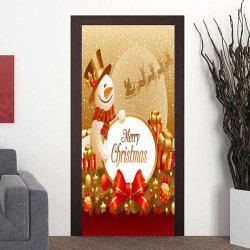 Merry Christmas Snowman Pattern Door Cover Stickers -