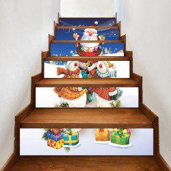 Christmas Snowmen Santa Claus Gift Printed Stair Stickers -