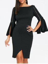 Zippers Bell Sleeve Boat Neck Sheath Dress -