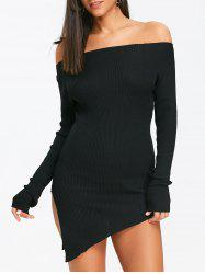 Slit Off The Shoulder Mini Knit Dress -